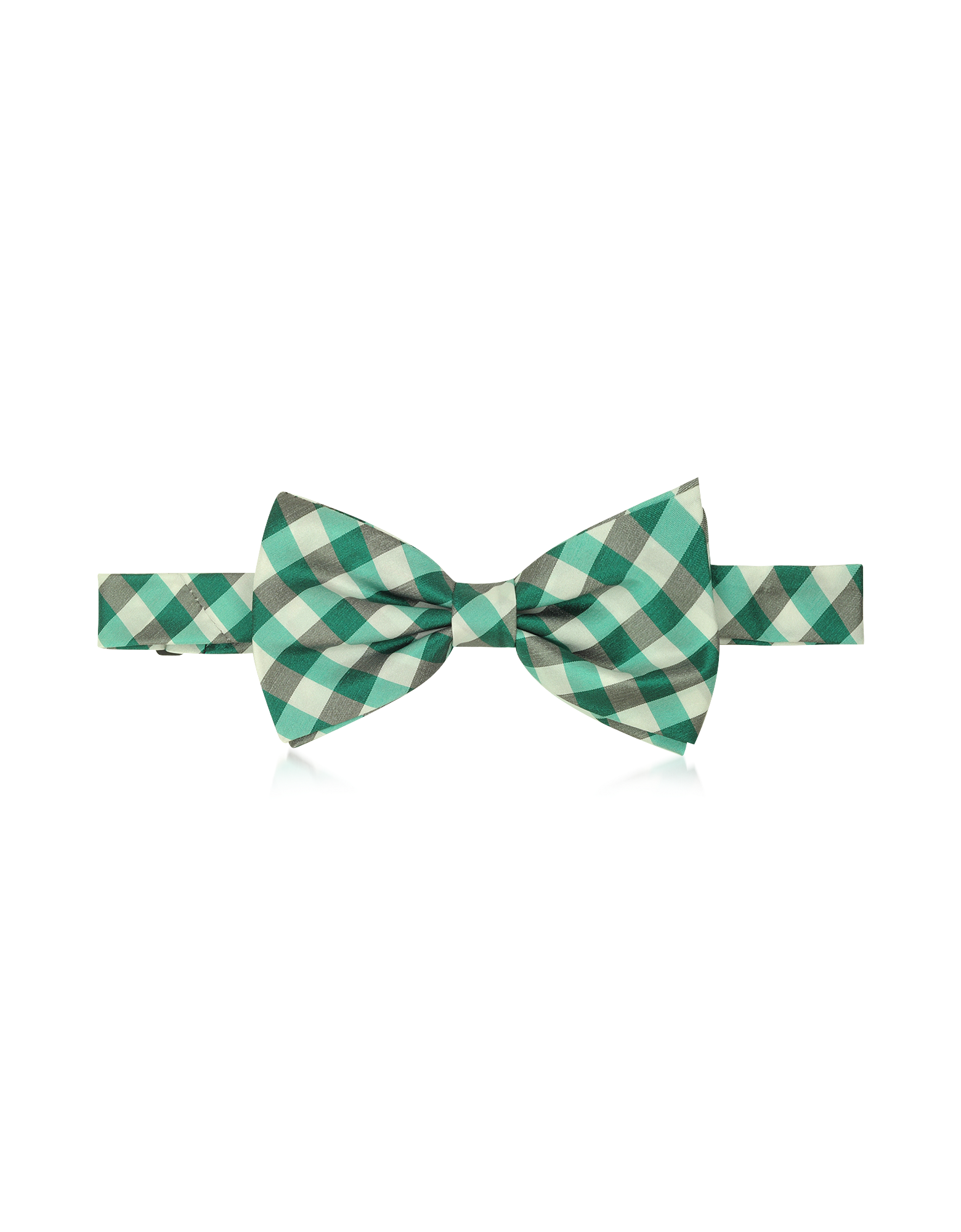 Image of Green Plaid Woven Silk Pre-tied Bow Tie
