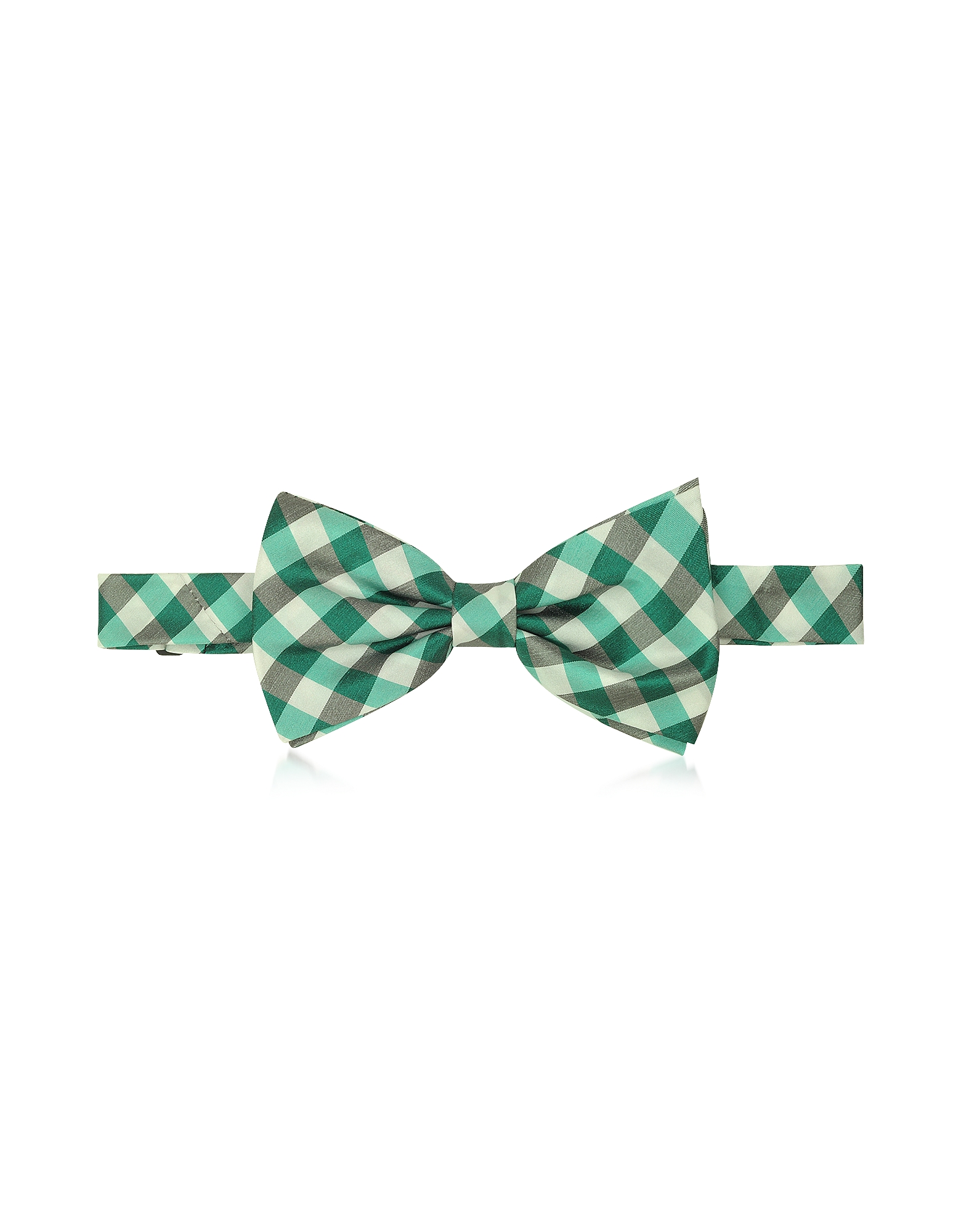 Green Plaid Woven Silk Pre-tied Bow Tie