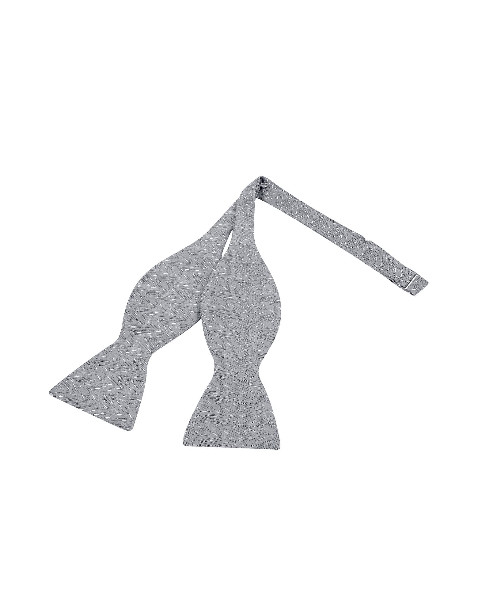 Церемониальный Серый Галстук-Бабочка из Текстурного Шелка с Узором Зиг-заг