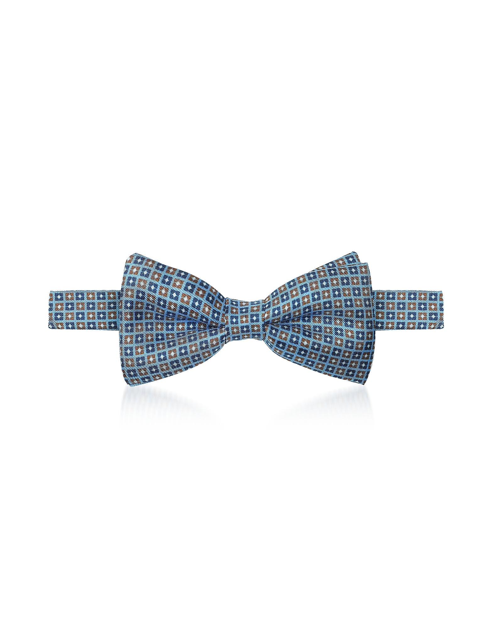 Forzieri Designer Bowties and Cummerbunds, Geometric Printed Silk Pre-Tied Bow Tie