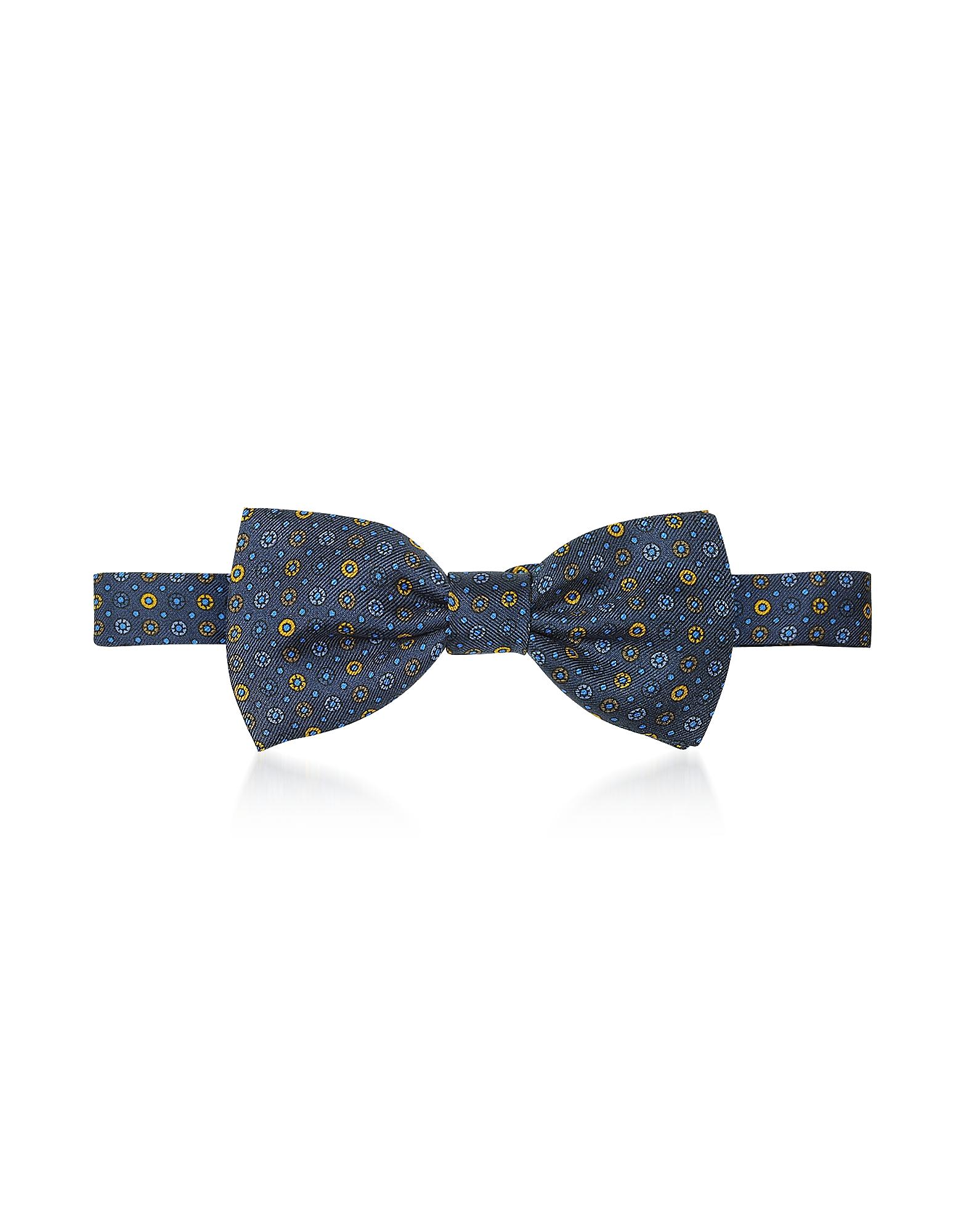Forzieri Designer Bowties and Cummerbunds, Blue/Gold Floral & Dots Print Silk Pre-Tied Bow Tie