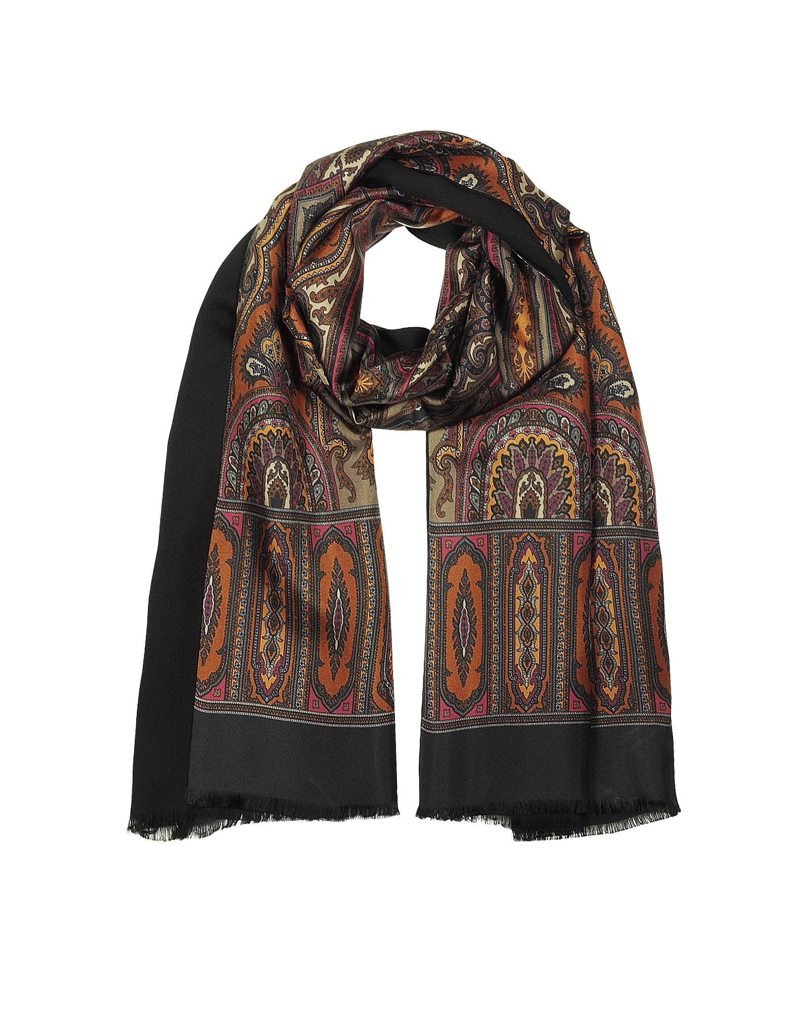 Modal & Silk Ornamental Print Men's Fringed Scarf, Brown / black