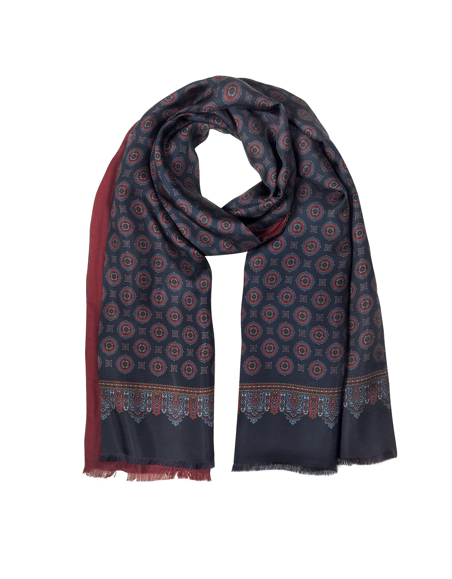 Blue & Burgundy Modal & Silk Ornamental Print Men's Fringed Scarf