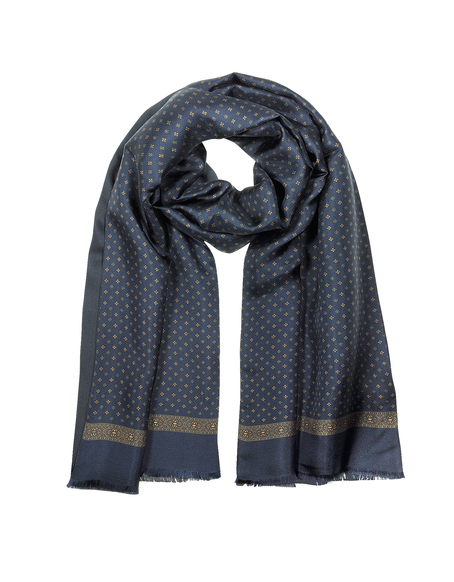 Forzieri Designer Men's Scarves, Modal & Silk Floral Print Men's Fringed Scarf