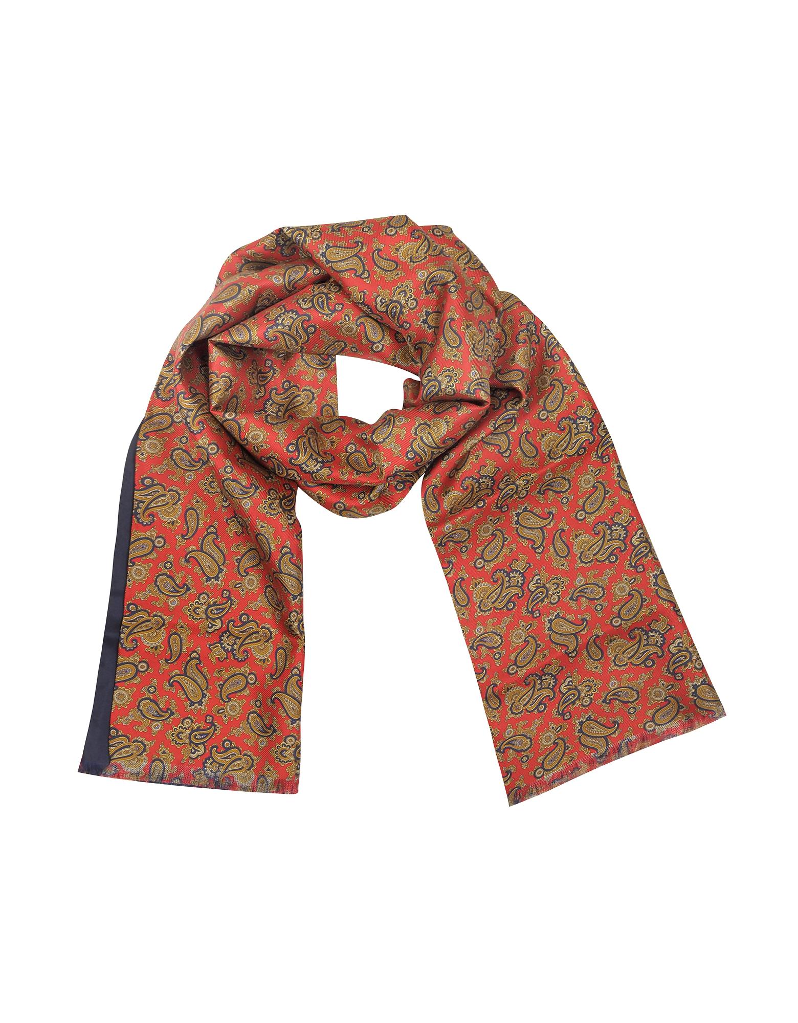 Forzieri Men's Scarves, Maxi Paisley Print Silk Reversible Men's Scarf