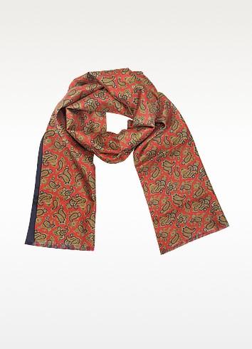 Maxi Paisley Print Silk Reversible Men's Scarf - Forzieri