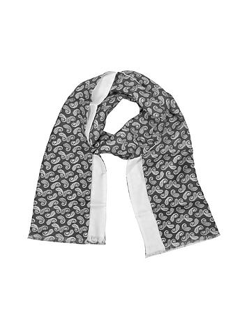 Forzieri - Paisley Print Silk Reversible Men's Scarf