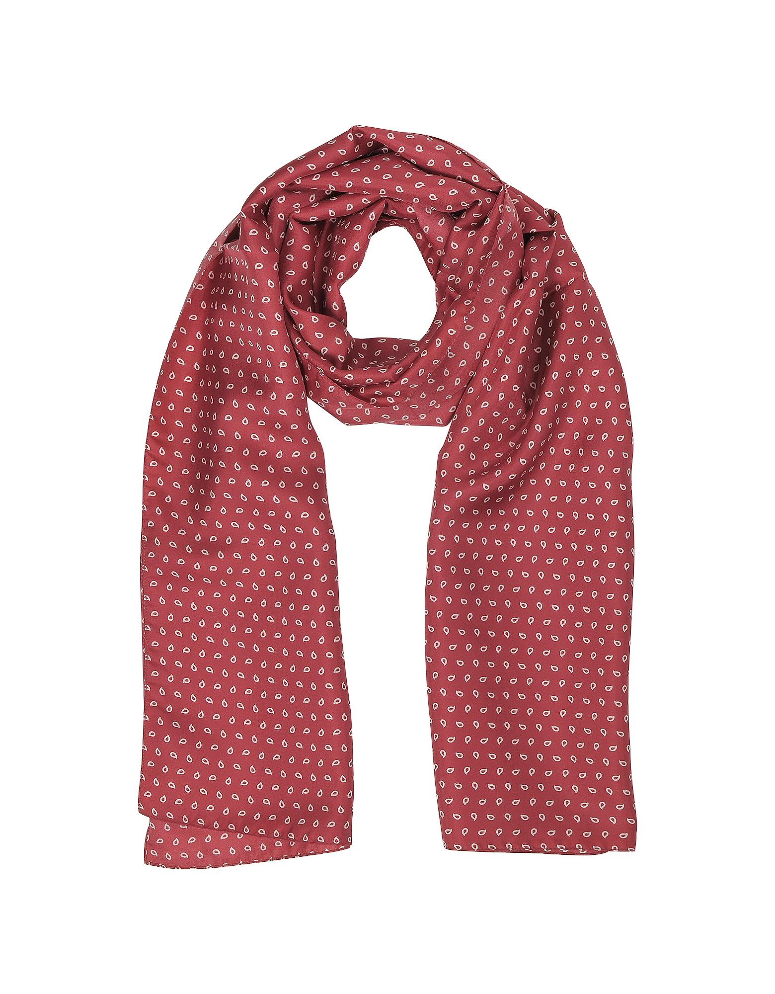 Image of Forzieri Designer Men's Scarves, Small Paisley Print Twill Silk Men's Scarf