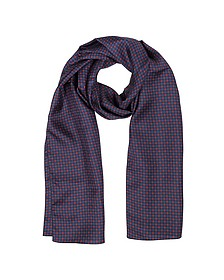 Small Flowers Print Twill Silk Men's Scarf - Forzieri