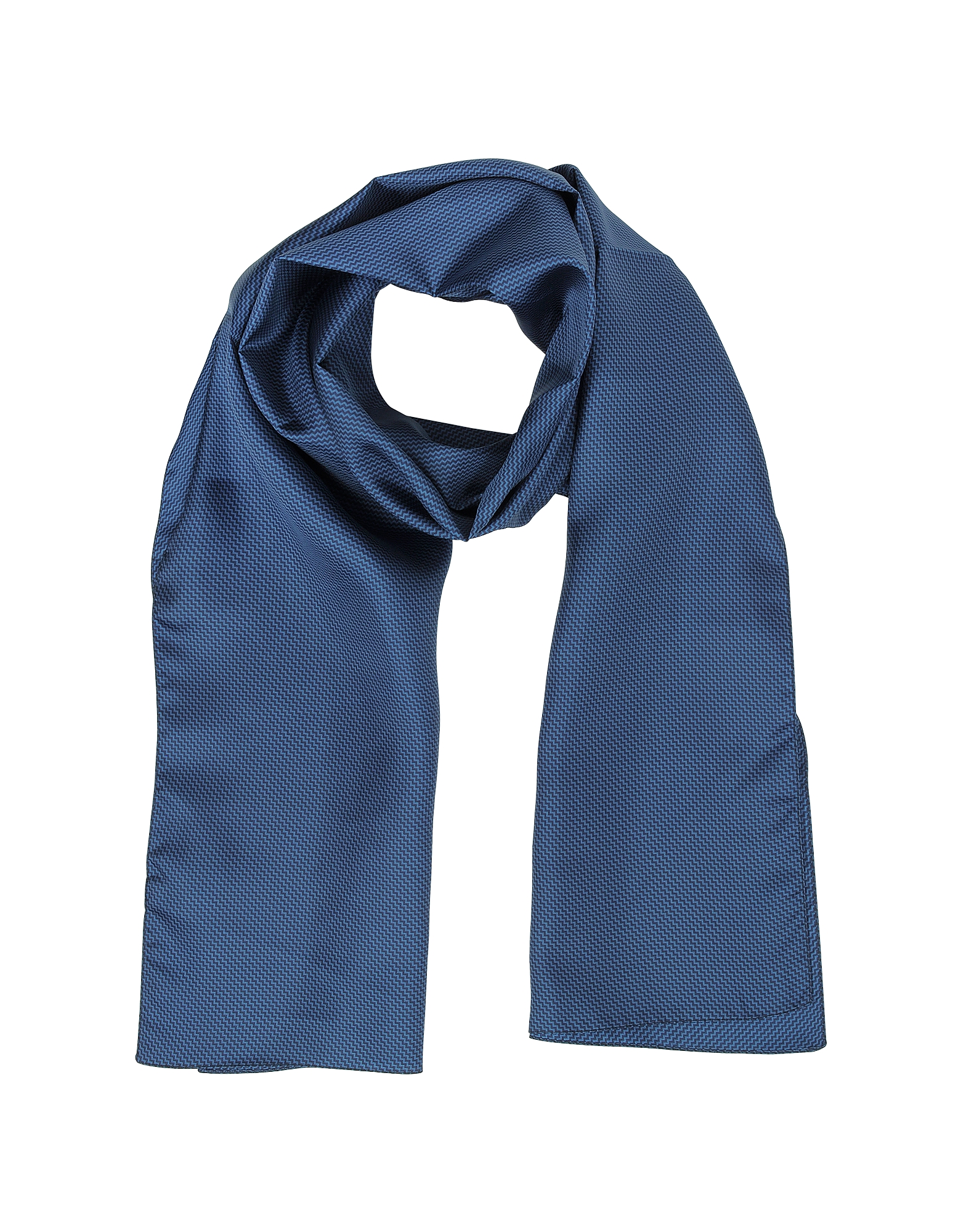 Forzieri Men's Scarves, Small Zig-Zag Print Twill Silk Men's Scarf