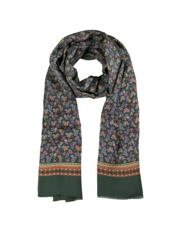 Lux-ID 258957 Small Paisley Print Silk & Modal Reversible Men's Scarf