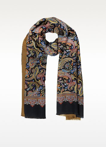 Large Paisley Print Silk & Modal Reversible Men's Scarf - Forzieri