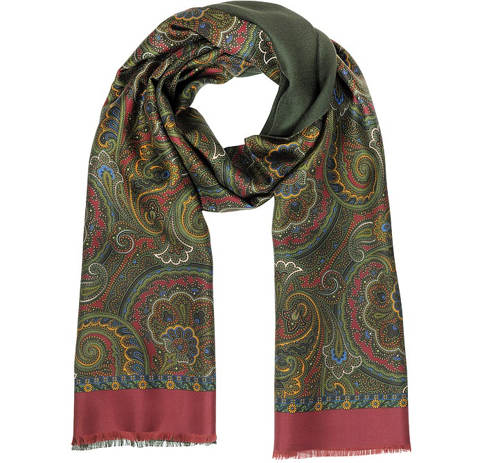 Paisley Print Silk & Modal Reversible Men's Scarf - Forzieri