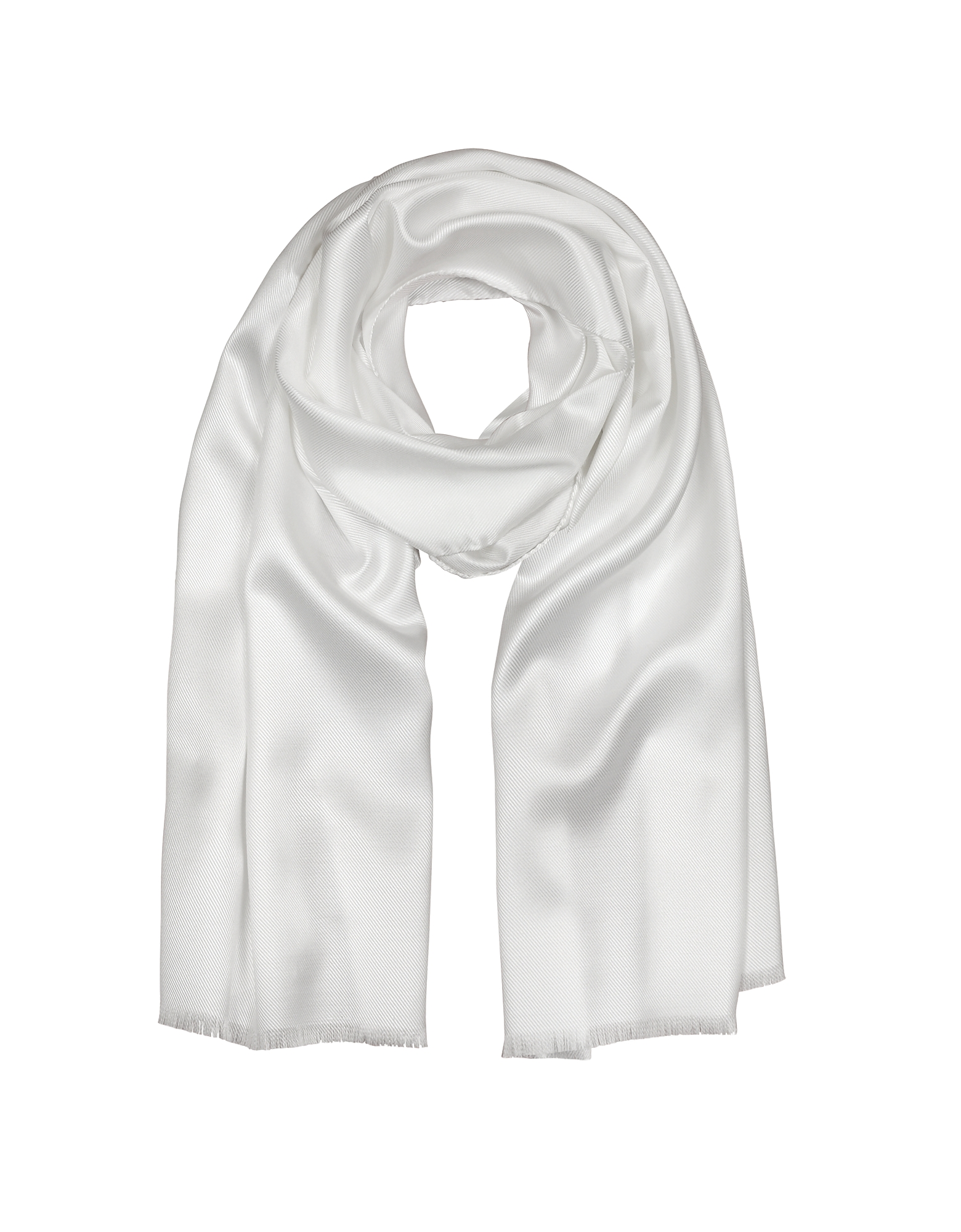 Forzieri Men's Scarves, Pure White Silk Men's Long Scarf