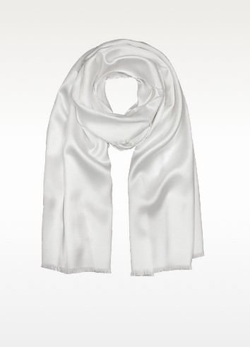 Pure White Silk Men's Long Scarf - Forzieri