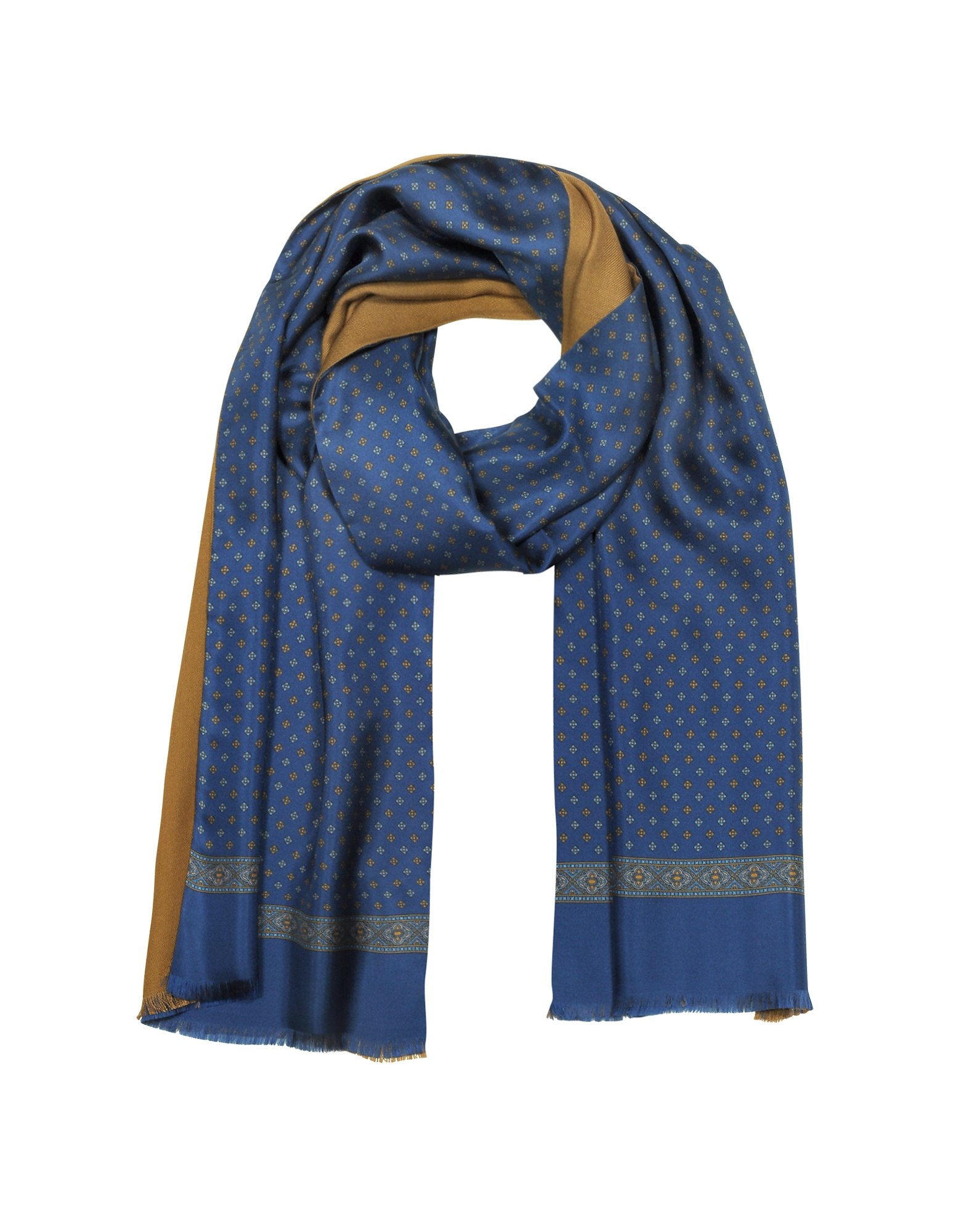 Micro Floral Print Blue Silk and Camel Modal Reversible Men's Scarf от Forzieri.com INT