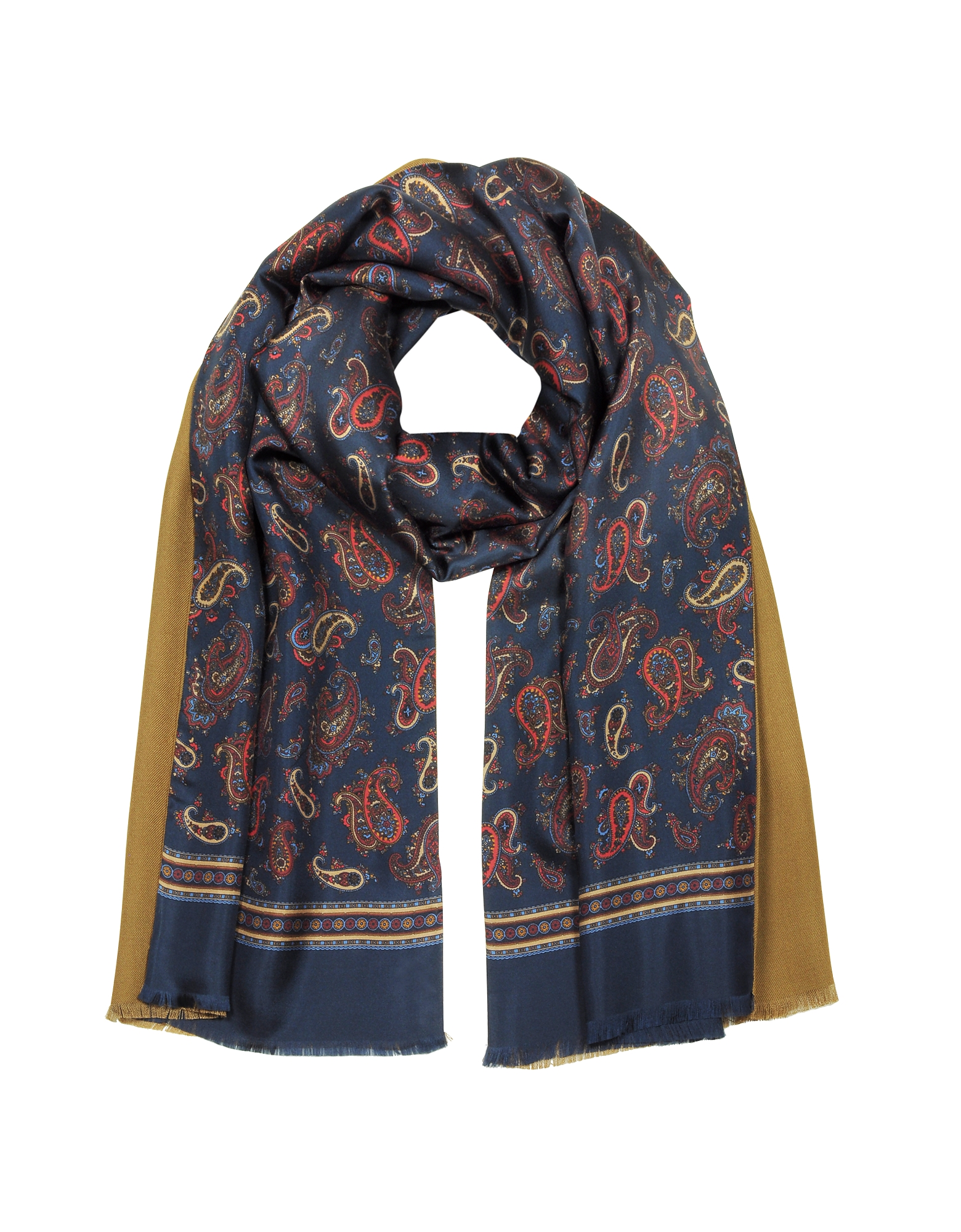 Forzieri Men's Scarves, Maxi Paisley Print Blue Silk and Camel Modal Reversible Men's Scarf