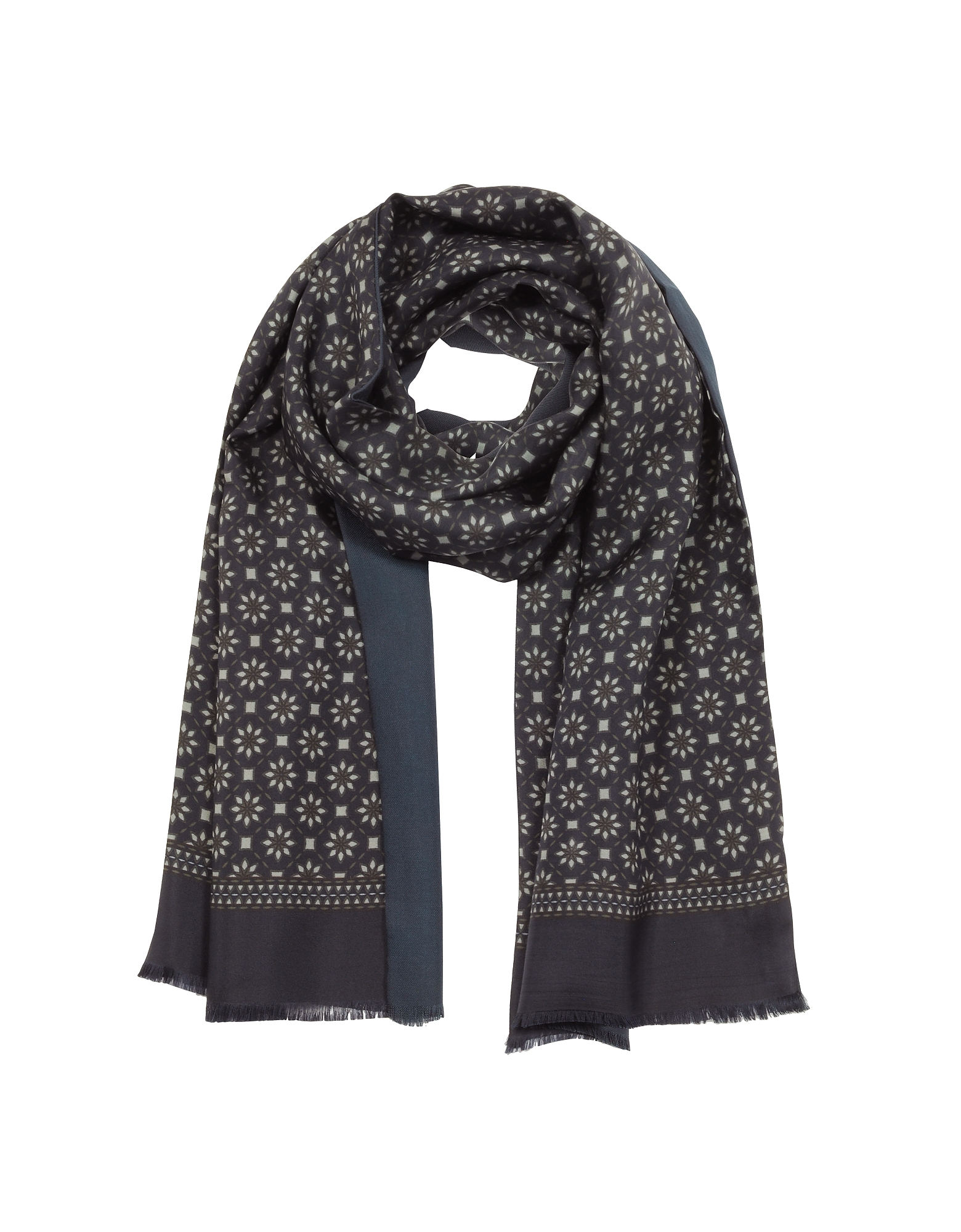 Modal & Silk Geometric Print Men's Fringed Scarf