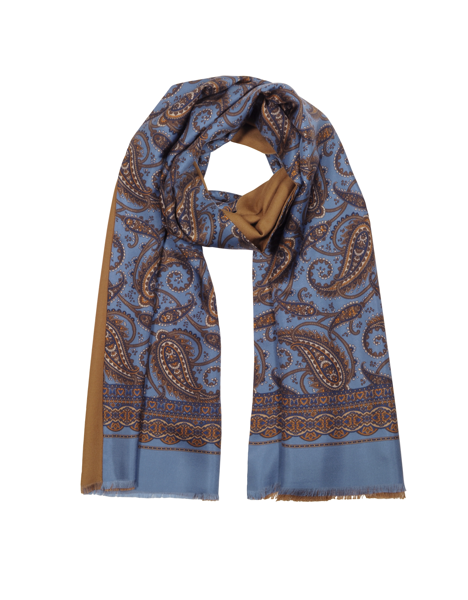 Forzieri Men's Scarves, Modal & Silk Oversized Paisley Print Men's Fringed Scarf