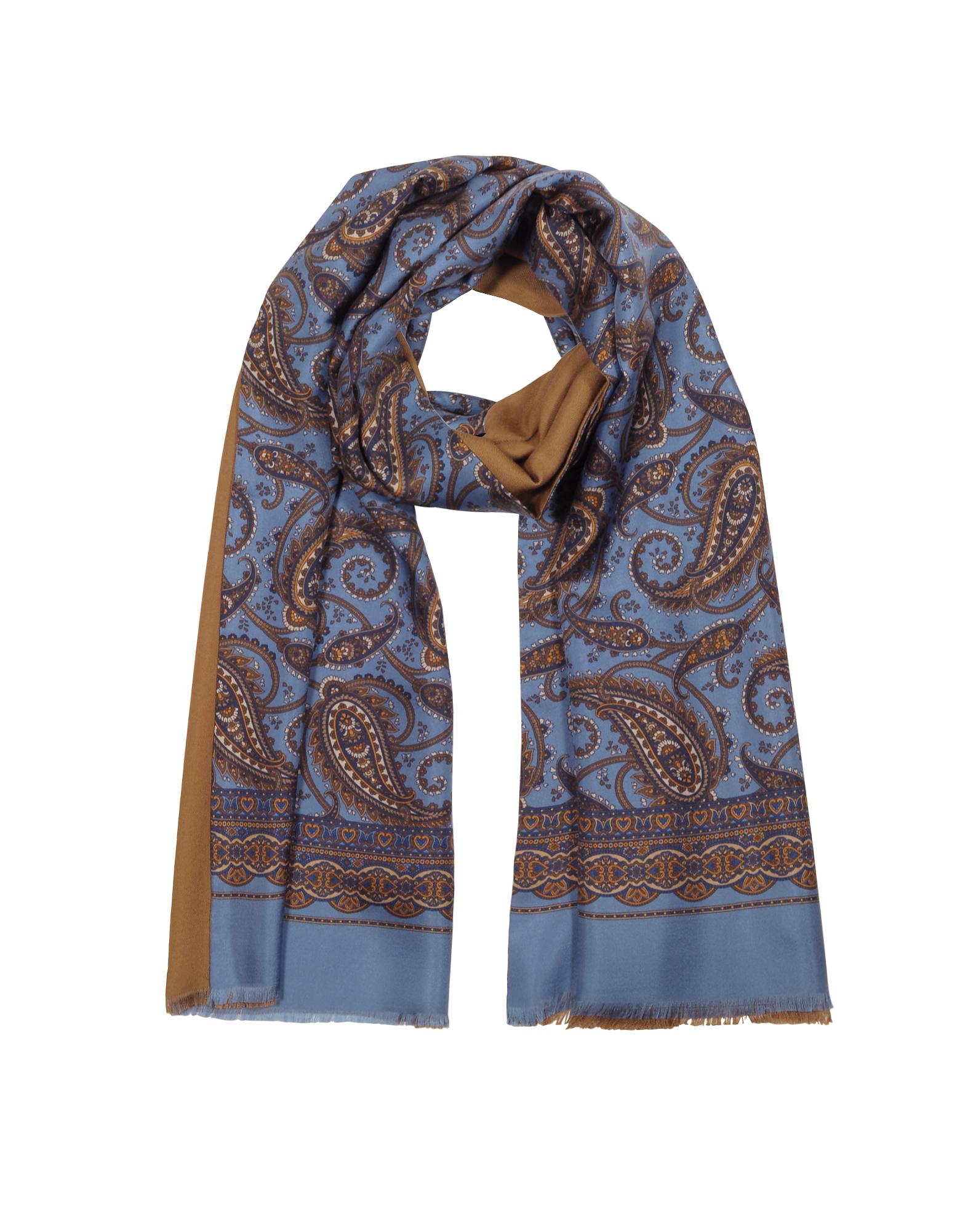 Modal & Silk Oversized Paisley Print Men's Fringed Scarf