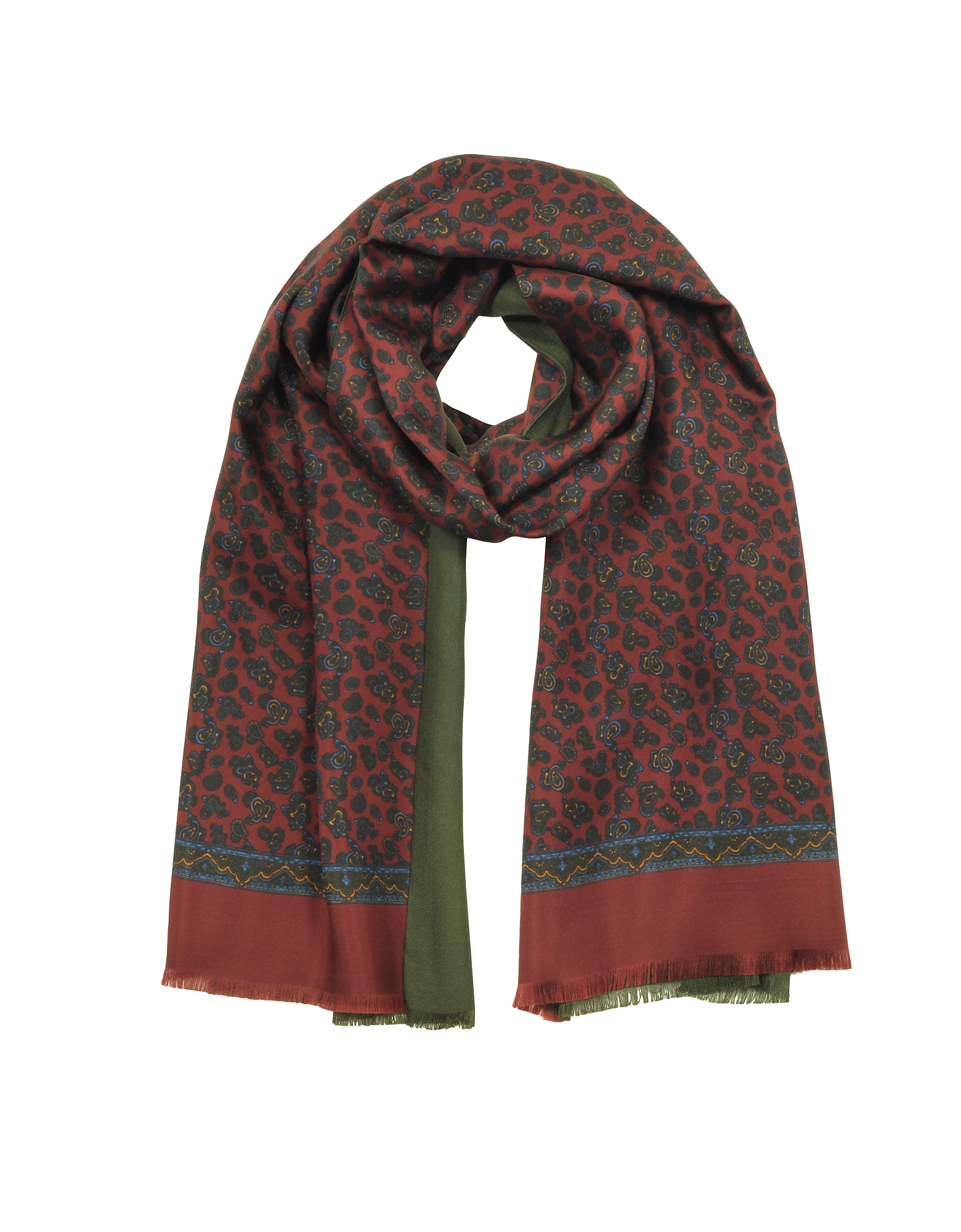 Modal & Silk Micro Paisley Print Men's Fringed Scarf
