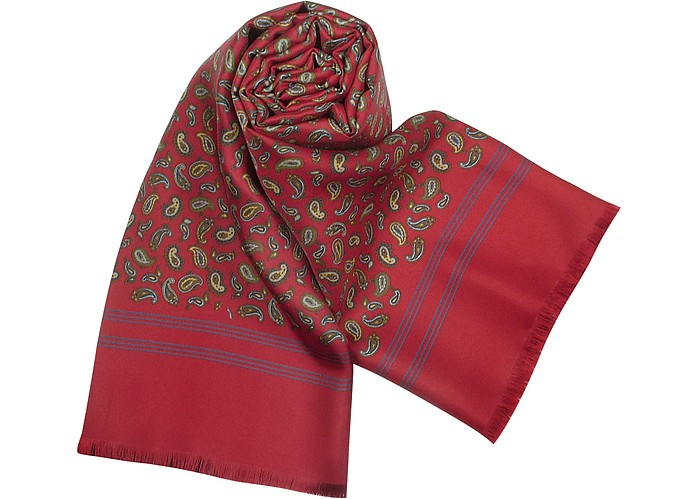 Small Paisley Print Wool and Silk Reversible Men's Scarf - Forzieri