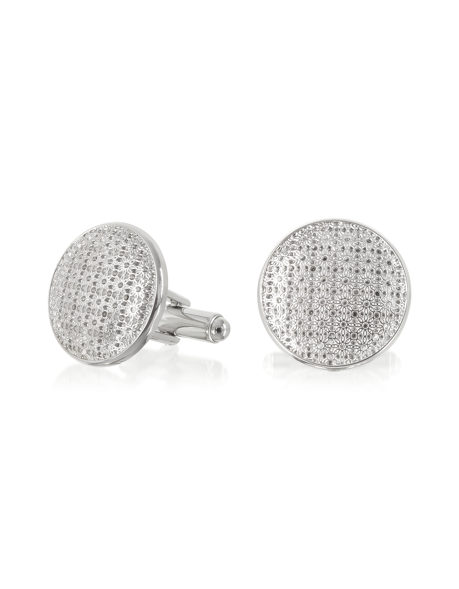 Forzieri Cufflinks, Evergreen - Round Flower Print Cufflinks