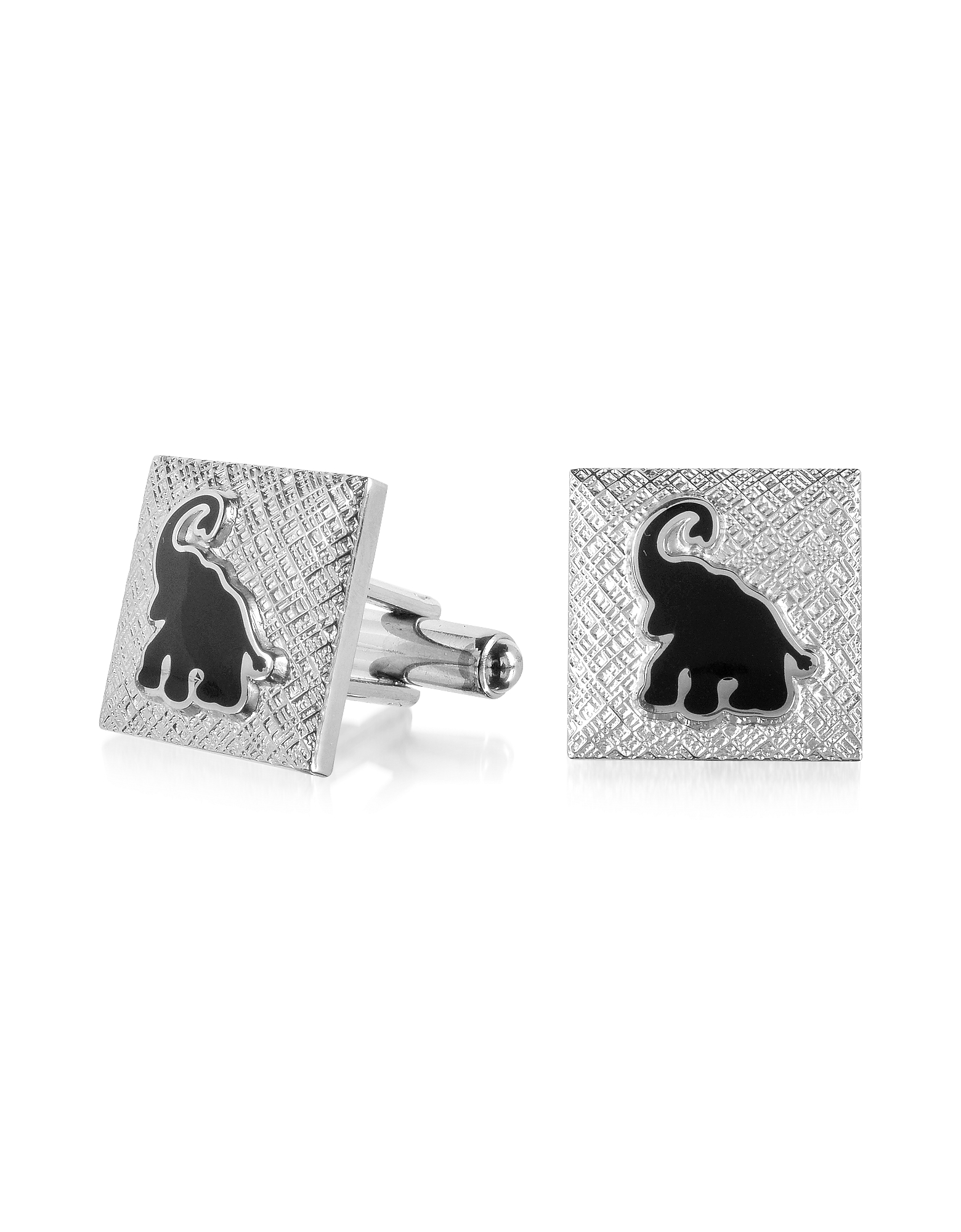 Forzieri Cufflinks, Fashion Garden - Black Elephant Square Cufflinks