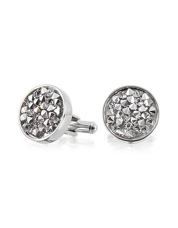 Lumiere Crystal and Brass Round Cufflinks
