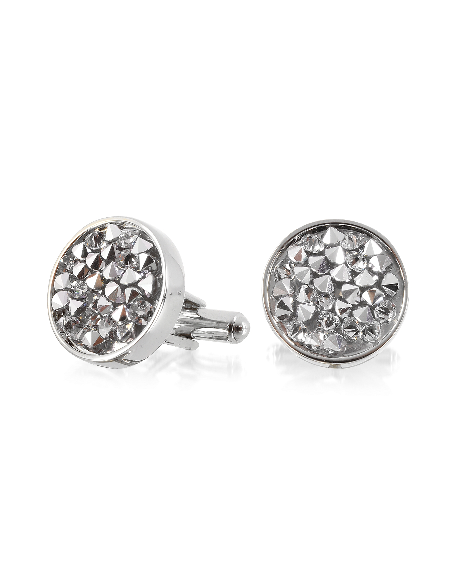 Lumiere Crystal and Brass Round Cufflinks от Forzieri.com INT