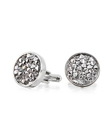 Lumiere Crystal and Brass Round Cufflinks - Forzieri