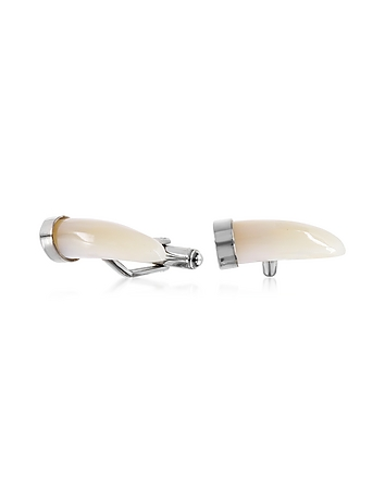 Forzieri - Mother of Pearl and Brass Horn Cufflinks