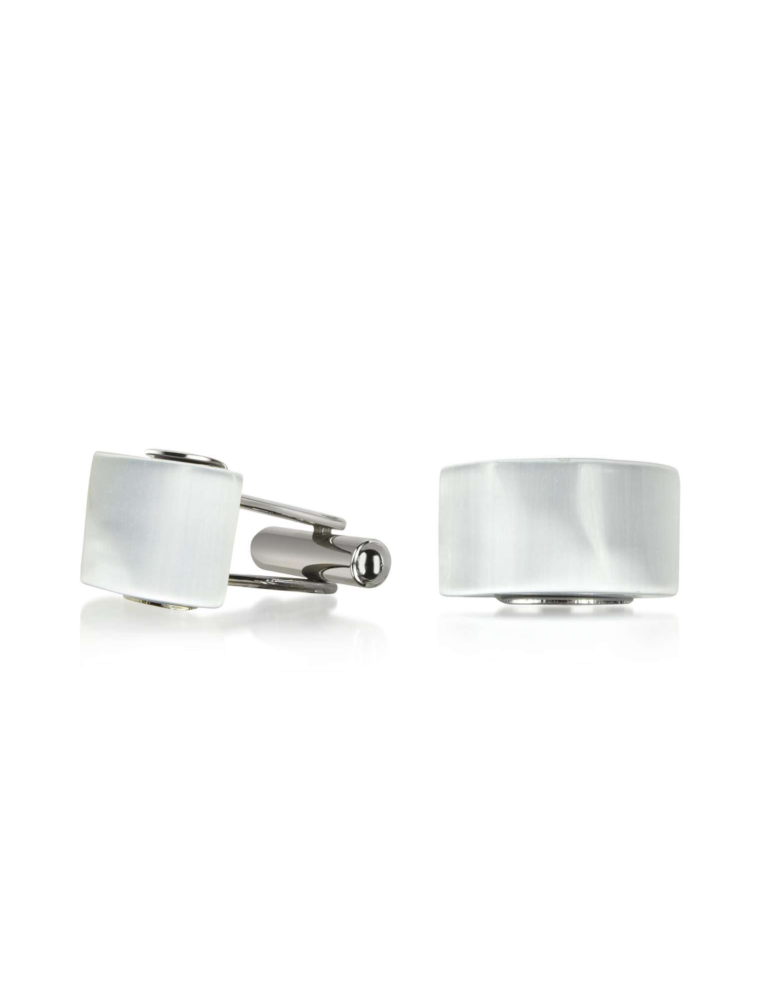Image of Cat's eye - White/Pearl Stone Curved Cufflinks