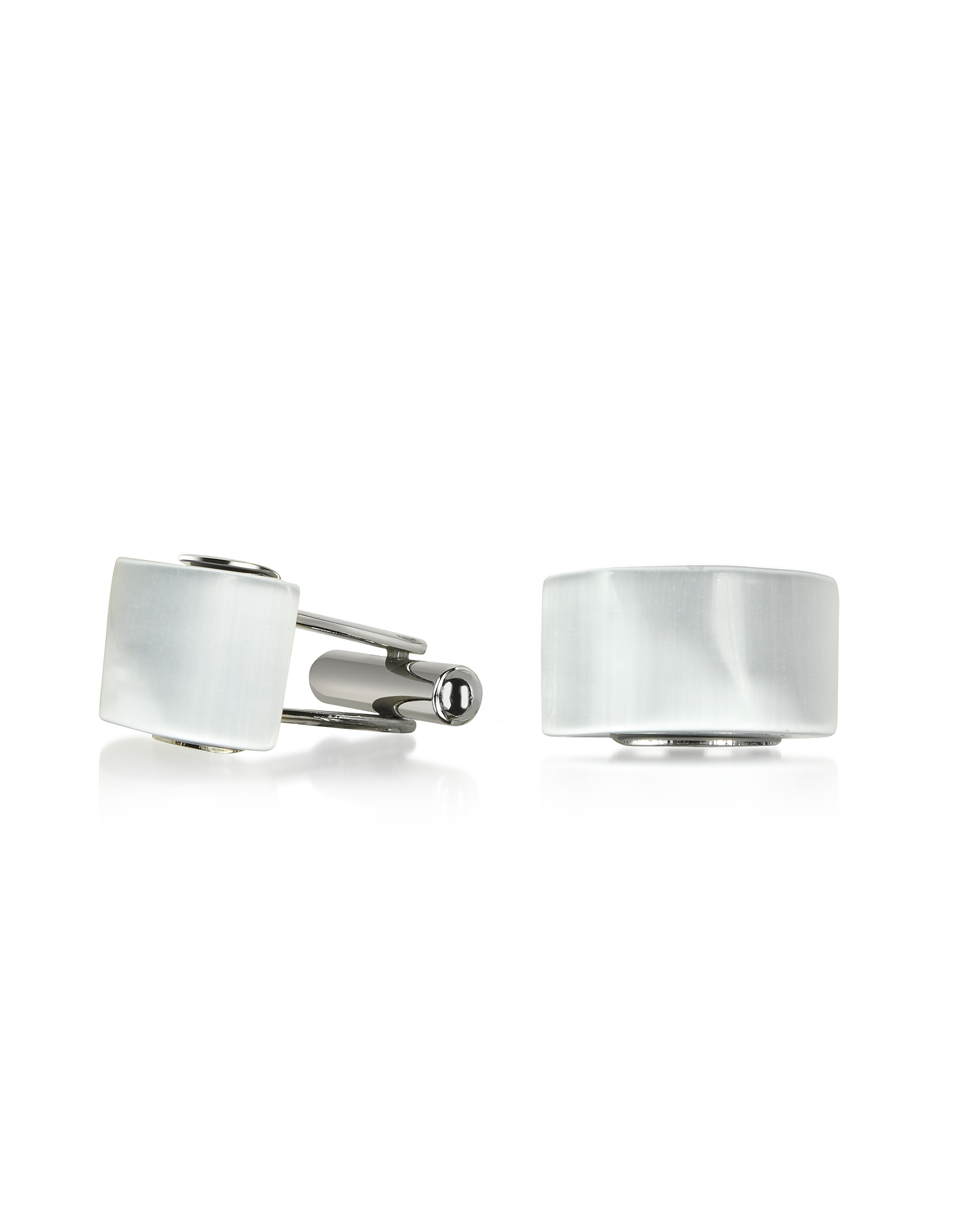 Forzieri Designer Cufflinks, Cat's eye - White/Pearl Stone Curved Cufflinks