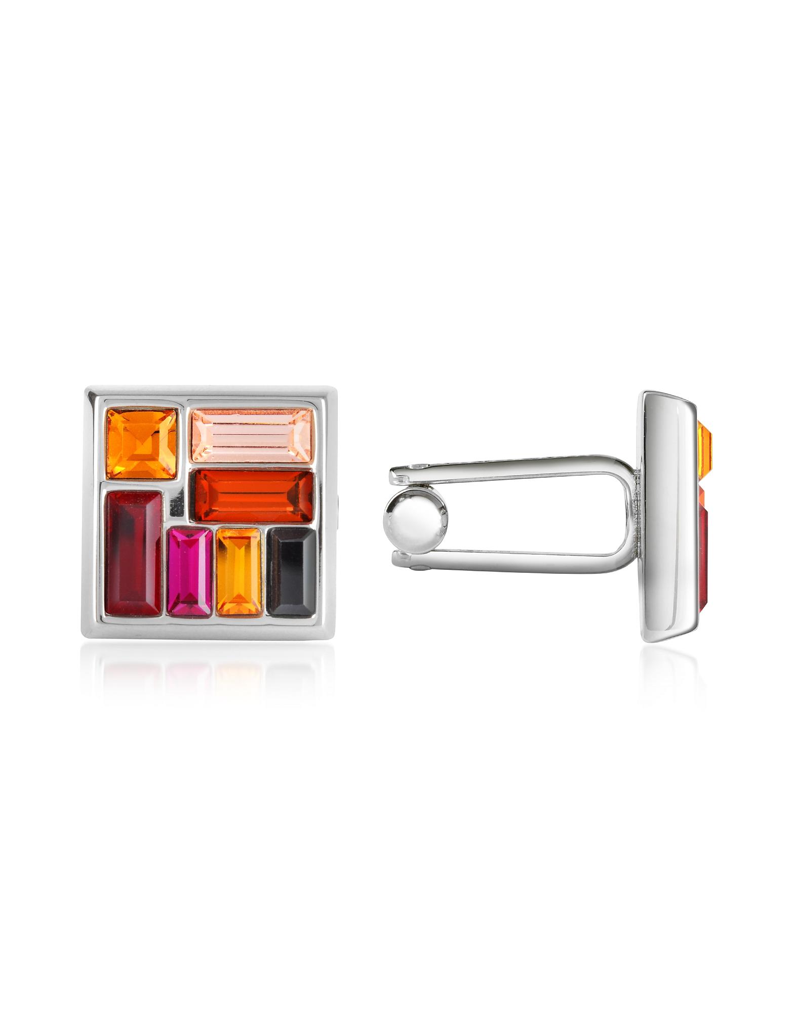 Forzieri Cufflinks, Multicolor Crystal Silver Plated Cufflinks