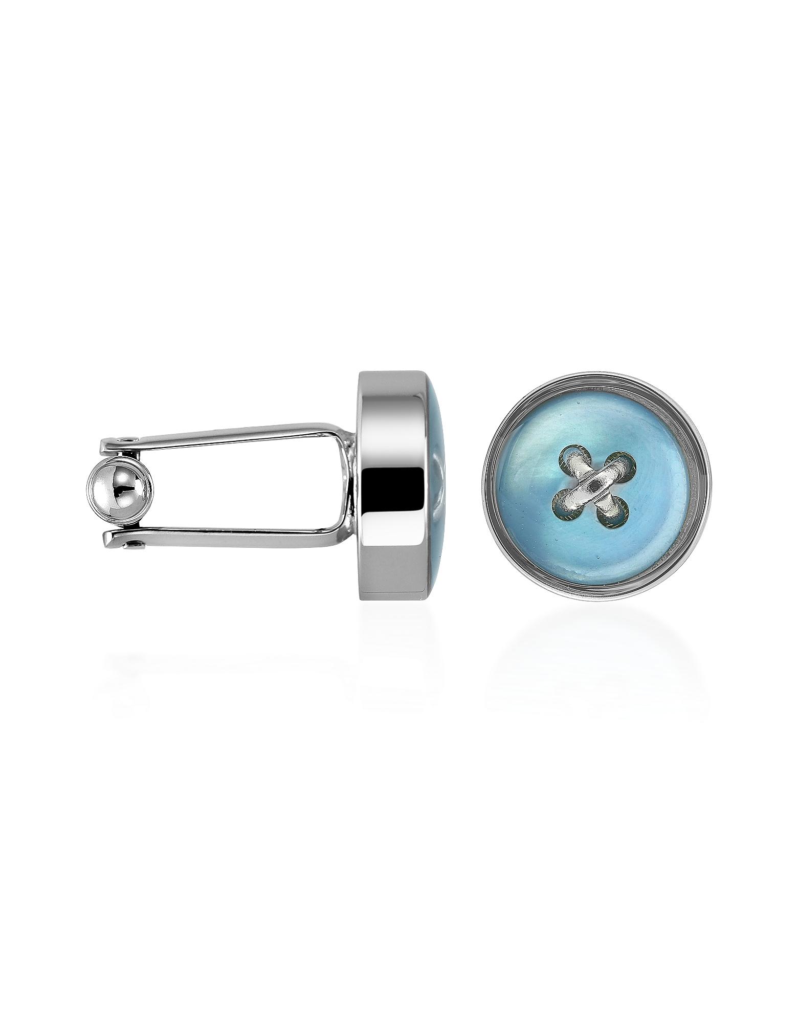 Forzieri Designer Cufflinks, Blue Button Mother-of-Pearl Silver Plated Cufflinks