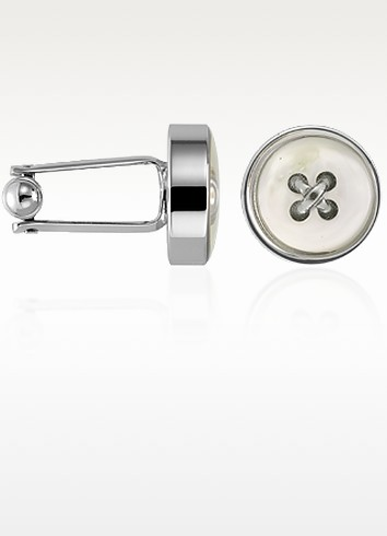 Mother-of-Pearl Button Silver Plated Cuff links - Forzieri