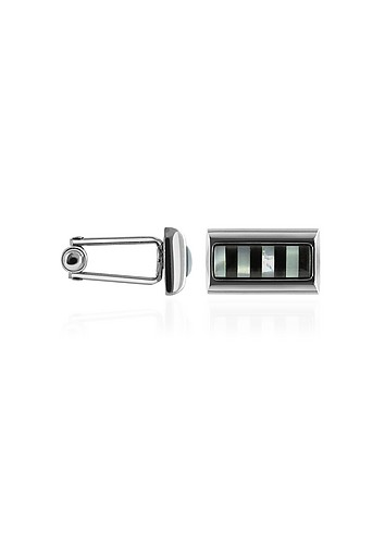 Forzieri Onyx and Mother of Pearl Sterling Silver Cufflinks
