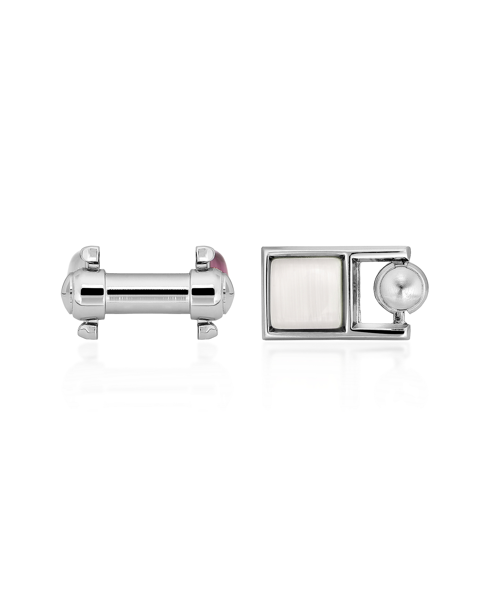 Forzieri Designer Cufflinks, Cat's Eye - White & Purple Double-Sided Cufflinks