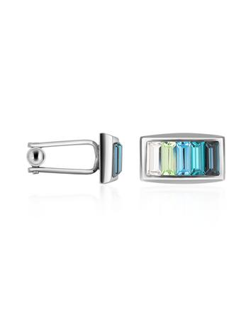 Forzieri Blue Gradated Swarovski Crystal Silver Plated Cuff links