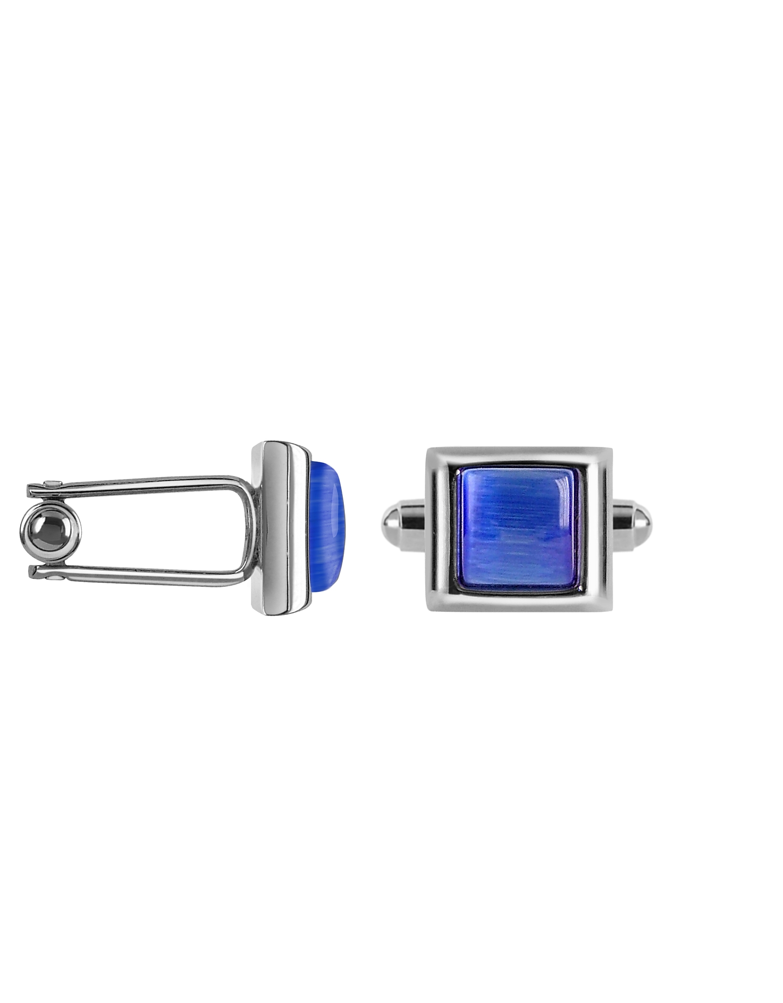 Forzieri Designer Cufflinks, Cat's eye - Blue Silver Plated Cuff links