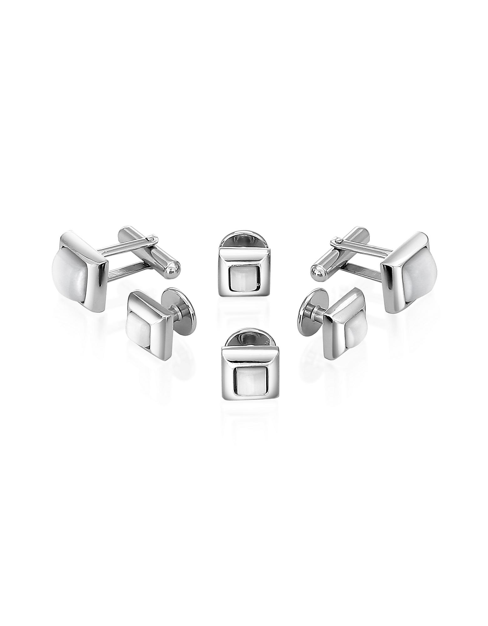 Forzieri Studs – Белые Элегантные Запонки с Напылением Серебра