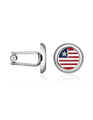 Forzieri - Stars & Stripes US Flag Silver Plated Round Cuff links