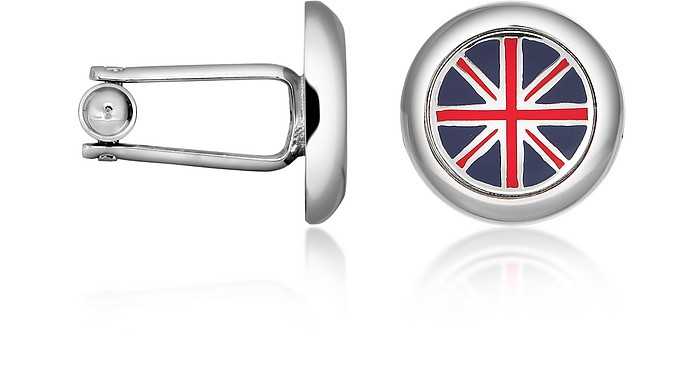 Union Jack Flag Silver Plated Round Cuff links - Forzieri