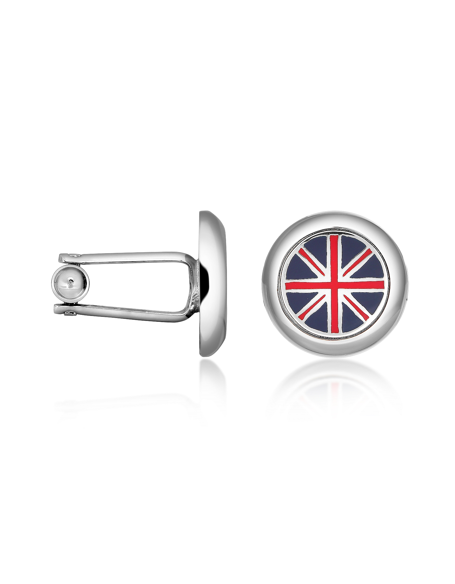 Forzieri Cufflinks, Union Jack Flag Silver Plated Round Cuff links