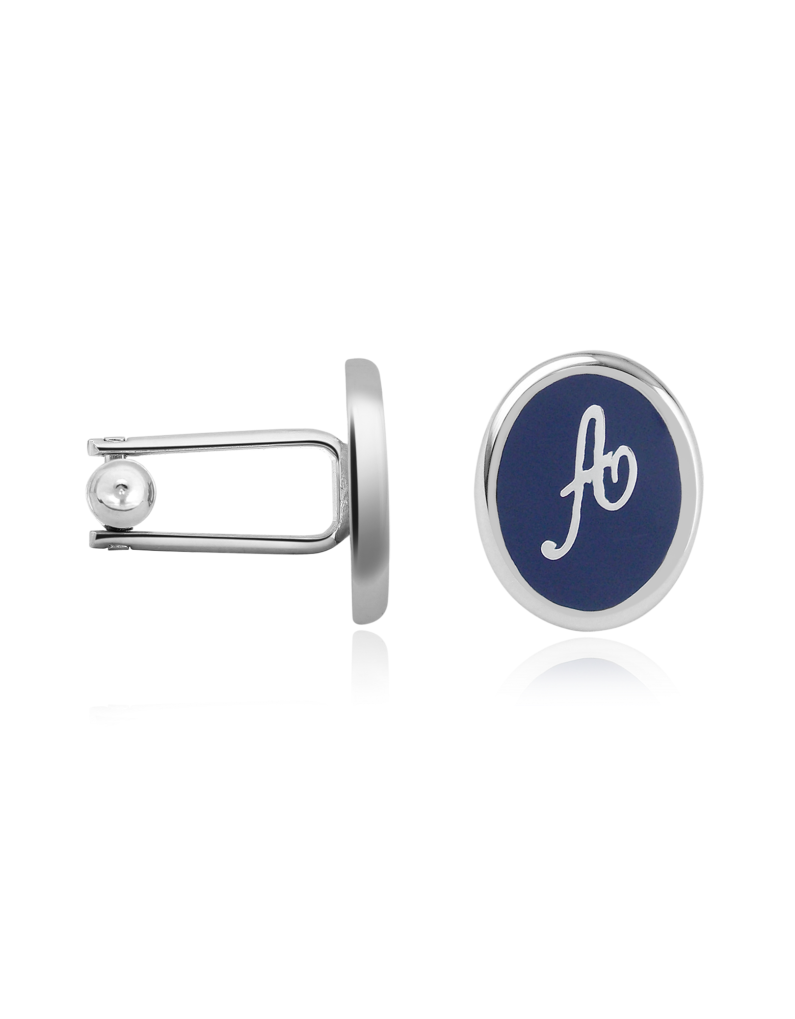 Image of Alphabet Initial Enamel Silver Plated Cuff links
