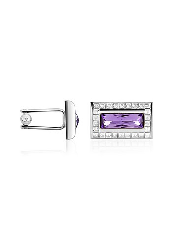 Forzieri Swarovski Crystal Framed Silver Plated Cuff Links