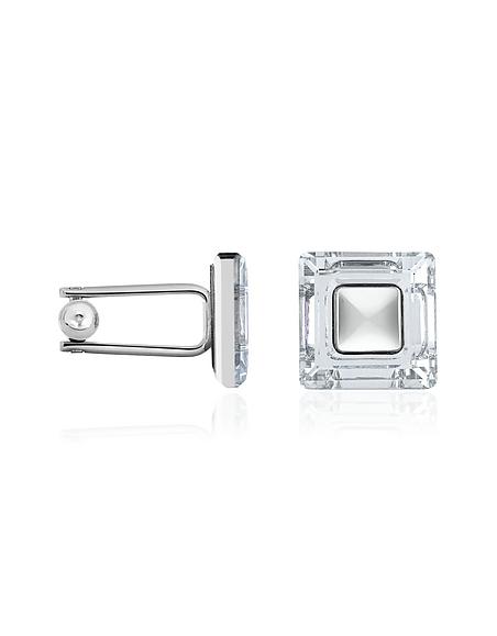 Forzieri Versilberte Manschettenknöpfe quadratisch mit Kristallen besetzt