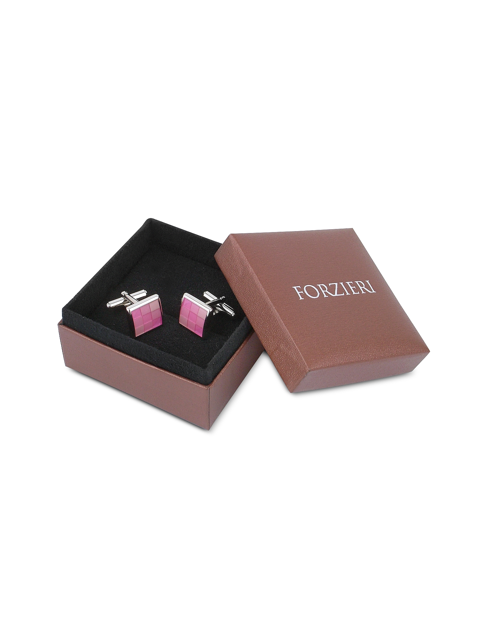 Enamel Checked Silver Plated Square Cuff Links от Forzieri INT