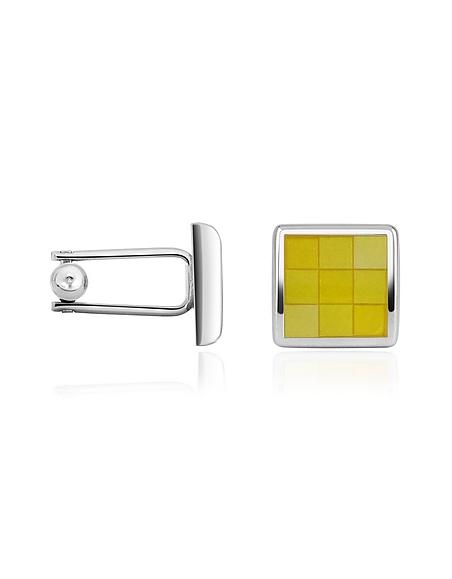 Forzieri Quadratische Manschettenknöpfe aus Silber mit Emaillekaros